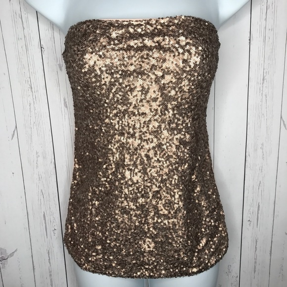 29f3cc88f7 Express Sz Small Pink Rose Gold Sequins Tube Top